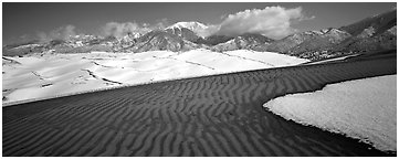 Scenic view of dunes in winter. Great Sand Dunes National Park and Preserve (Panoramic black and white)
