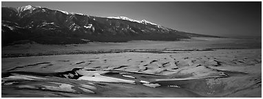 Dune field in winter. Great Sand Dunes National Park and Preserve (Panoramic black and white)