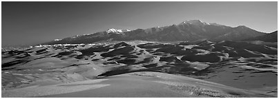 Sand dunes and Sangre de Christo mountains in winter. Great Sand Dunes National Park and Preserve (Panoramic black and white)