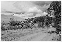 Medano Pass primitive road. Great Sand Dunes National Park and Preserve ( black and white)