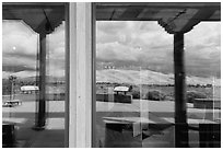 Dune field, visitor center window reflexion. Great Sand Dunes National Park and Preserve ( black and white)
