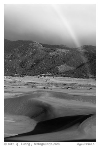 Rainbow over dune field. Great Sand Dunes National Park and Preserve (black and white)