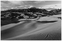 Dune field and Sangre de Cristo mountains at sunset. Great Sand Dunes National Park and Preserve ( black and white)