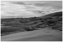 Dunes and sunset clouds. Great Sand Dunes National Park, Colorado, USA. (black and white)