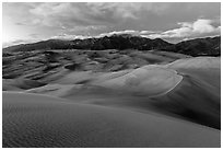 Dunes and Sangre de Cristo mountains at dusk. Great Sand Dunes National Park and Preserve ( black and white)