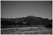 Dunefield and Mount Herard at night. Great Sand Dunes National Park and Preserve ( black and white)