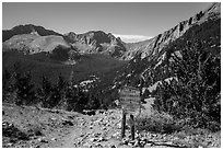 Trail and Sangre de Cristo Wilderness sign. Great Sand Dunes National Park and Preserve ( black and white)
