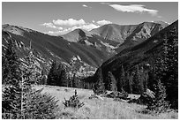 Sand Creek Valley and Mount Herard. Great Sand Dunes National Park and Preserve ( black and white)