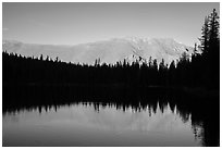 Mountain reflection and line of trees, Sand Creek Lake. Great Sand Dunes National Park and Preserve ( black and white)
