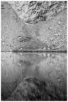 Talus and reflection, Lower Sand Creek Lake. Great Sand Dunes National Park and Preserve ( black and white)