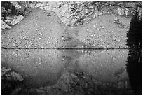 Rock talus reflected in Lower Sand Creek Lake. Great Sand Dunes National Park and Preserve ( black and white)