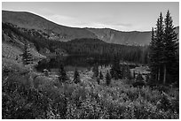 Sand Creek Lake at sunset. Great Sand Dunes National Park and Preserve ( black and white)