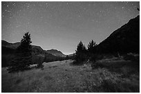 Sand Creek Valley at night. Great Sand Dunes National Park and Preserve ( black and white)