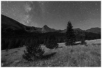 Milky Way, Sand Creek Valley, and Tijeras Peak. Great Sand Dunes National Park and Preserve ( black and white)