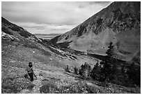 Hiker above Medano Lakes. Great Sand Dunes National Park and Preserve ( black and white)