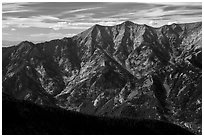 Rugged Sangre de Cristo mountains brightened by aspens in fall foliage. Great Sand Dunes National Park and Preserve ( black and white)