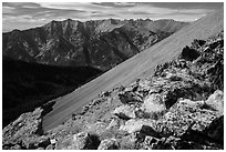 Sangre de Cristo mountain from Mount Herard. Great Sand Dunes National Park and Preserve ( black and white)