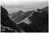 Sangre de Cristo mountain ridges. Great Sand Dunes National Park and Preserve ( black and white)