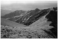 Summit slopes on Mount Herard, ridges, autumn colors, and dunes. Great Sand Dunes National Park and Preserve ( black and white)