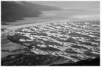 Dune field from above. Great Sand Dunes National Park and Preserve ( black and white)