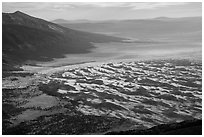 Sangre de Cristo Mountains and dune field from above. Great Sand Dunes National Park and Preserve ( black and white)