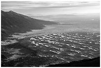 The 750 feet dunes look small from  alpine summit of 13,297 feet Mt. Herard. Great Sand Dunes National Park and Preserve ( black and white)