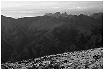 Sangre de Cristo Mountains seen from alpine summit of Mt. Herard. Great Sand Dunes National Park and Preserve ( black and white)