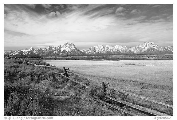 Fence and Teton range in fall. Grand Teton National Park (black and white)