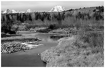 Stream, with Mt Moran emerging from ridige, late fall. Grand Teton National Park ( black and white)