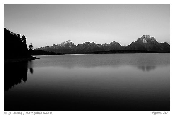 The Teton range above Jackson, sunrise lake. Grand Teton National Park (black and white)