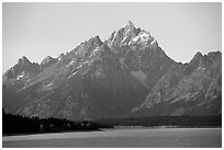 Grand Teton rises above Jackson lake. Grand Teton National Park ( black and white)