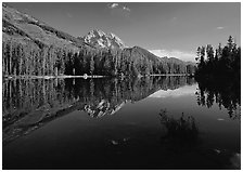 Leigh Lake with Mt Moran reflections, morning. Grand Teton National Park ( black and white)