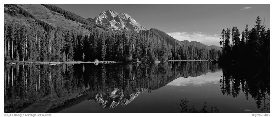 Mountain landscape with Lake reflection. Grand Teton National Park (black and white)