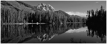 Mountain landscape with Lake reflexion. Grand Teton National Park (Panoramic black and white)