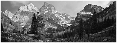 Mountain scenery with dramatic peaks. Grand Teton National Park (Panoramic black and white)