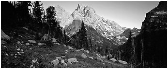 Rugged peaks lit by last light. Grand Teton National Park (Panoramic black and white)