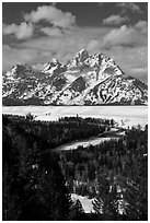 Snake River bend and Grand Teton in winter. Grand Teton National Park ( black and white)