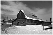 John and Bartha Moulton homestead in winter. Grand Teton National Park ( black and white)