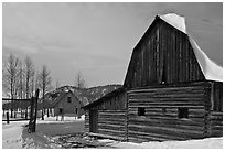 Moulton barn and house in winter. Grand Teton National Park ( black and white)