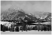 Below Teton range in winter. Grand Teton National Park ( black and white)