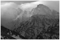 Cloud-capped Teton range, winter afternoon. Grand Teton National Park ( black and white)