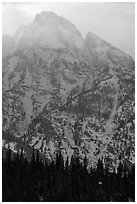 Towering mountain in winter. Grand Teton National Park ( black and white)
