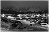 Jackson Hole airport at night. Grand Teton National Park ( black and white)