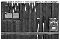 Icicles and mail box, Kelly. Grand Teton National Park, Wyoming, USA. (black and white)
