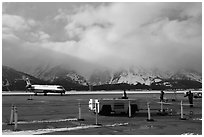 Jackson Hole Airport and cloud-capped Teton Range. Grand Teton National Park ( black and white)