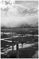 Jackson Hole Airport tarmac, winter. Grand Teton National Park ( black and white)