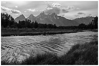 Teton Range in summer from Schwabacher Landing, afternoon. Grand Teton National Park ( black and white)