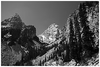 Garnet Canyon with Nez Perce and Middle Teton. Grand Teton National Park ( black and white)