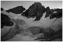 Middle Teton and glacier from Garnet Canyon. Grand Teton National Park ( black and white)