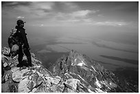 Climber looking from summit of Grand Teton. Grand Teton National Park ( black and white)